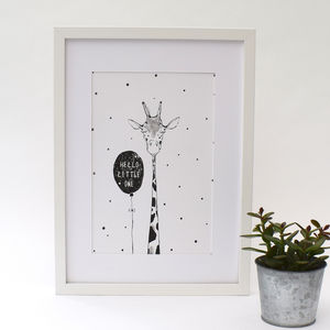 'Hello Little One' Hand Drawn Illustrated Giraffe Print