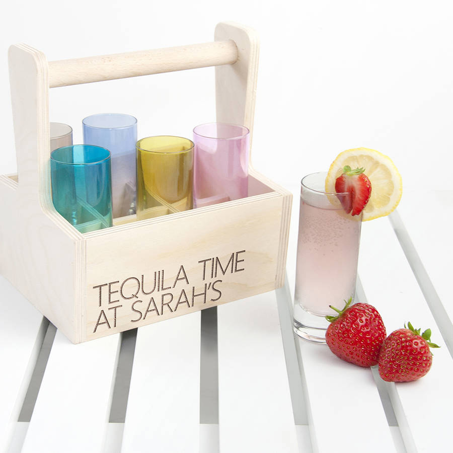 Set Of Six L S A Shot Glasses With Personalised Trug
