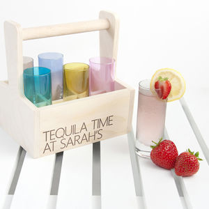 Set Of Six L.S.A. Shot Glasses With Personalised Trug - shot glasses