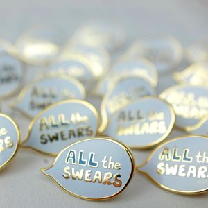 All The Swears Speech Bubble Enamel Pin - secret santa gifts
