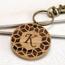 Personalised Geometric Initial Wooden Keyring