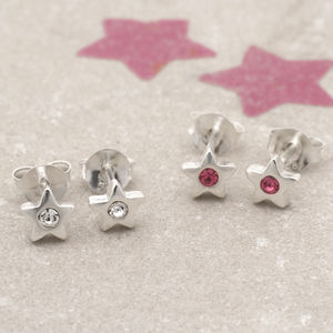 Sterling Silver And Crystal Star Earrings - children's jewellery
