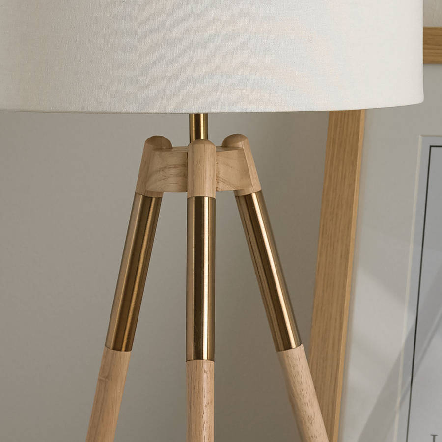 Wooden tripod table lamp by primrose plum notonthehighstreet wooden tripod table lamp aloadofball Images