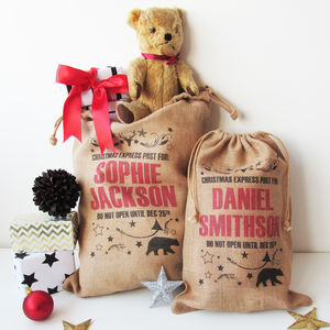 Personalised Christmas Sack With Bear Print - personalised