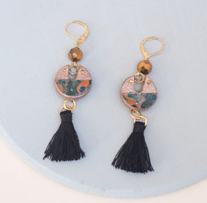 Starburst Marbled Leather Cutout Tassel Earrings