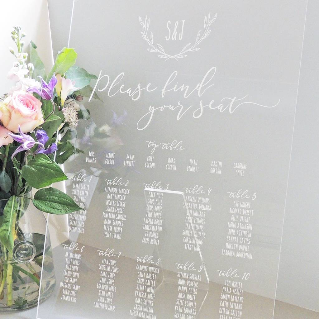 laurel monogram perspex table plan by project pretty rh notonthehighstreet com