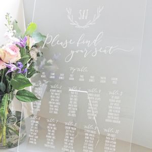 Laurel Monogram Perspex Table Plan - room decorations