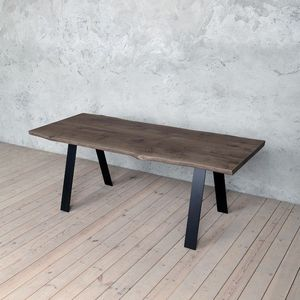 Trent A Shaped Legs Live Edge Oak Dining Table