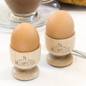 Mr And Mrs Pair Of Personalised Egg Cups - egg cups & cosies