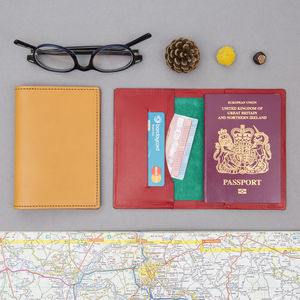 Personalised Bright Leather Passport Wallet - wallets