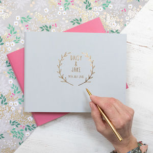 Wedding Guest Book With A Boho Wedding Logo Designed - albums & guest books