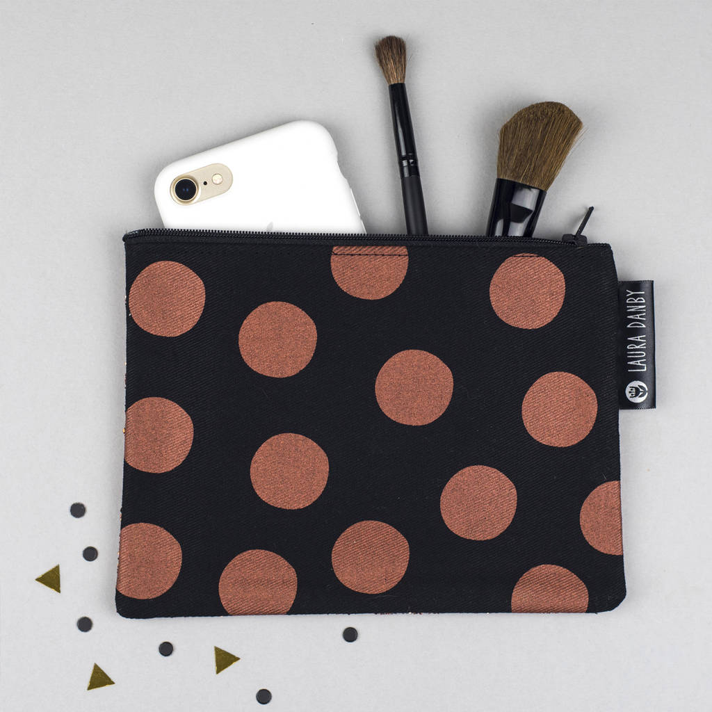 Glitter Purse Copper And Screen Printed Polka Dot
