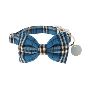 Electric Blue Plaid Bow Tie Dog Collar - pet collars