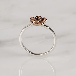 9ct Rose Gold Flower And Silver Ring - rings