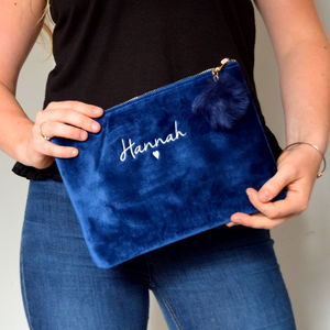 Embroidered Velvet Make Up Bag With Pom Pom - make-up bags