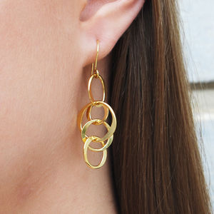 Gold Interlinking Round Wire Drop Earrings - earrings