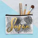 Personalised Metallic Floral Grey Make Up Bag