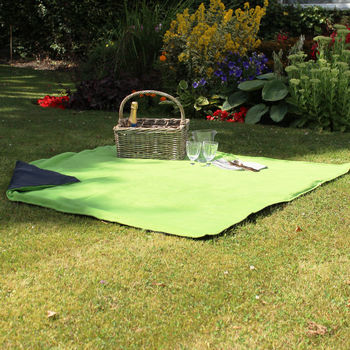 Apple Green And Navy Picnic Blanket