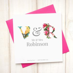 Personalised Floral Wedding Card - wedding cards