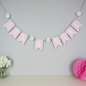 'It's A Girl' Bunting With Honeycomb Pom Poms