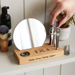 Personalised Grooming Station In Solid Oak - gifts under £25