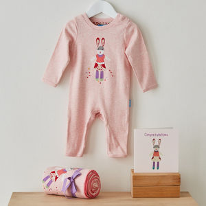 Pink Patchwork Bunny Gift Set With Congratulations Card - new baby gifts