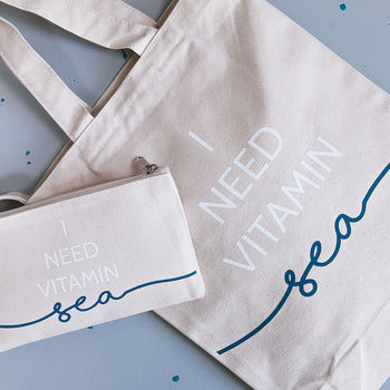Vitamin Sea Tote Bag And Travel Pouch Set