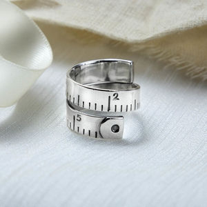 Sterling Silver Adjustable Measuring Tape Ring