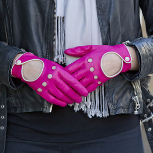 Jules. Women's Contrast Leather Driving Gloves - gloves
