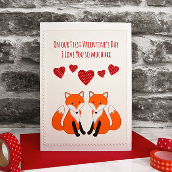 'Foxes' Handmade Personalised Valentines Card