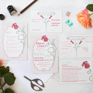 Art Deco Flower Wedding Stationery - invitations