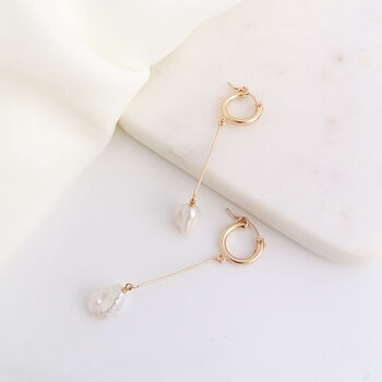 Long Pearl Gold Hoop Earrings