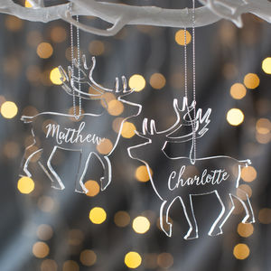 Personalised Clear Reindeer Christmas Decoration