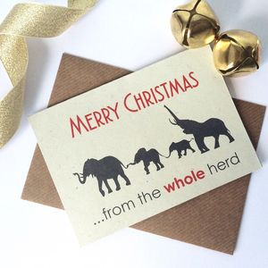 Personalised Family Herd Elephant Christmas Card - whatsnew