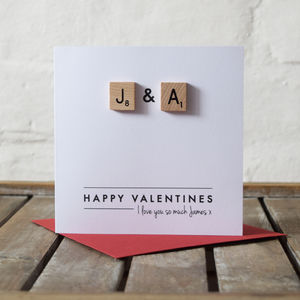 Personalised Scrabble Initial Couple Card