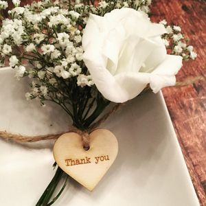 Pack Of 20 Thank You Wooden Heart Tags
