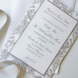 Grey Rose Border Traditional Wedding Invitation