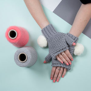 Grey Super Pom Fingerless With Cream Pom - hats, scarves & gloves