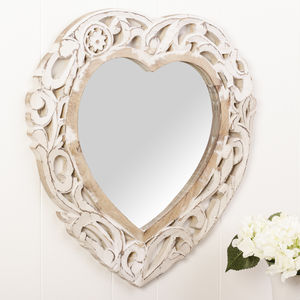 Carved Heart White Wooden Wall Mirror - mirrors