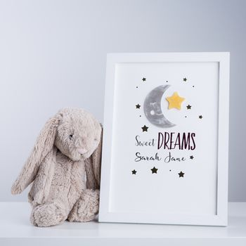 Sweet Dreams Personalised 3D Nursery Framed Print