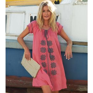 Charlotte Embroidered Cotton Dress Coral/Grey