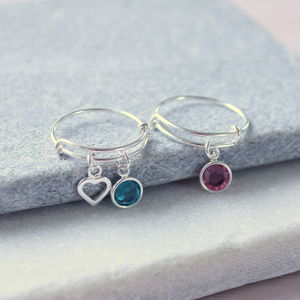 Sterling Silver Adjustable Birthstone Charm Ring
