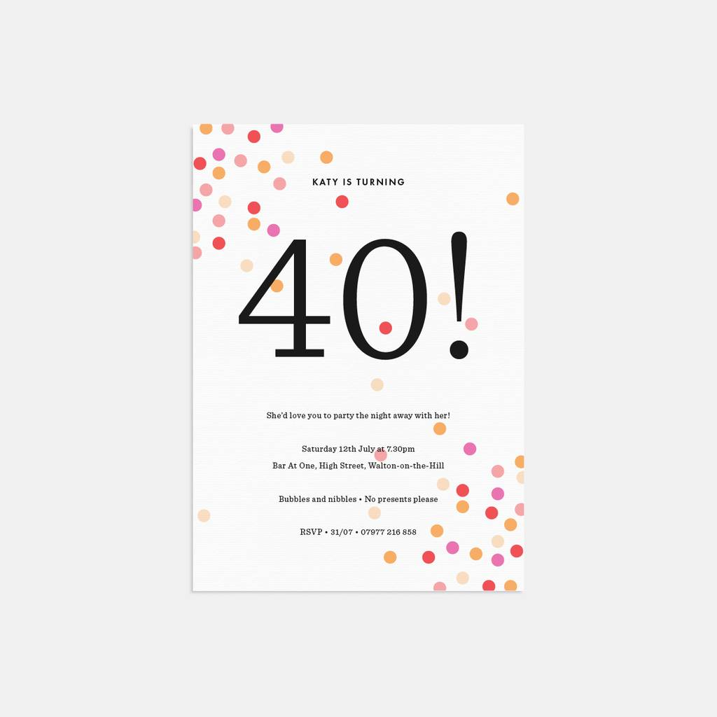 confetti personalised birthday party invitations by lola\'s paperie ...