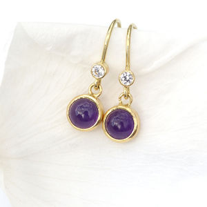 Amethyst And White Sapphire Earrings In 18ct Gold - february birthstone