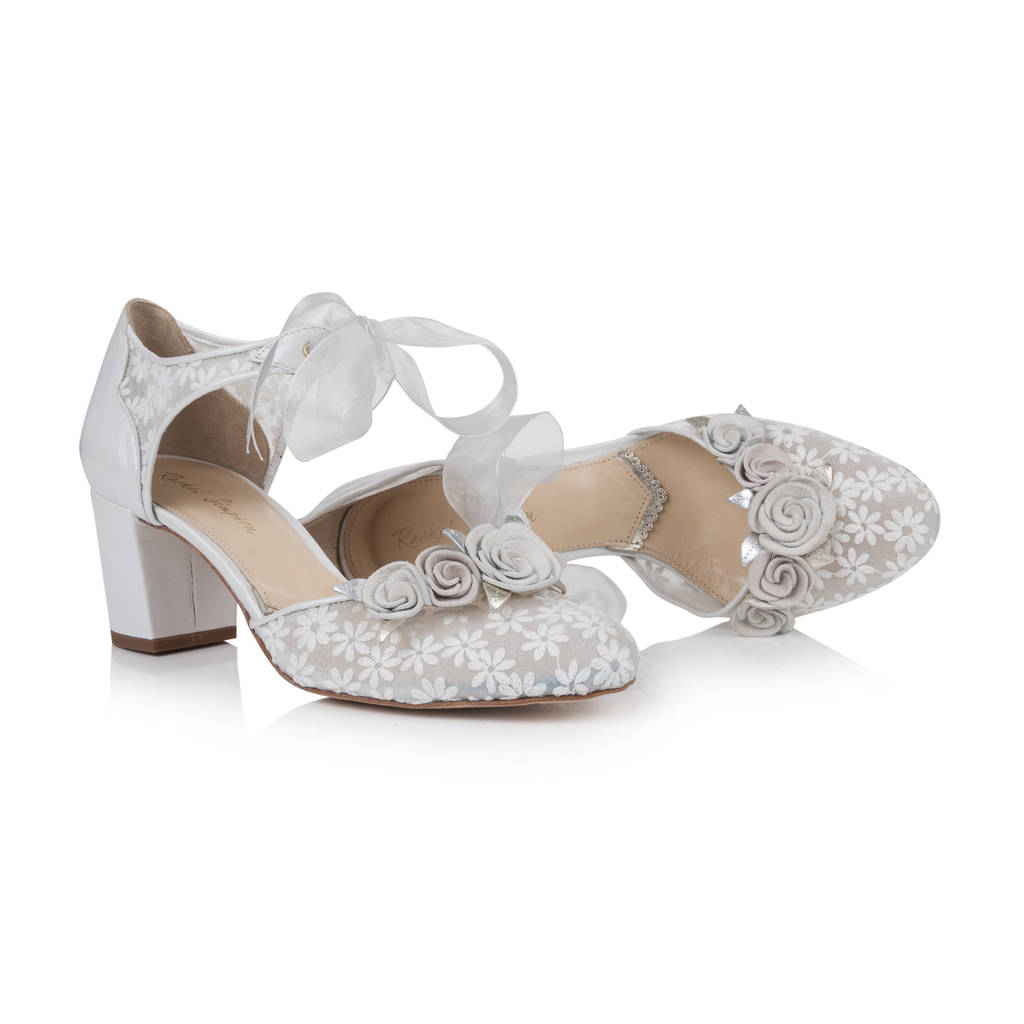 No Heel Wedding Shoes: Florence Ivory Floral Block Heel Wedding Shoes By Rachel