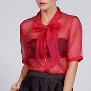 Sheer Silk Organza Pussy Bow Blouse - blouses & shirts