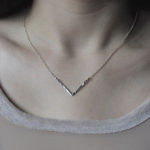 Silver Geometric Chevron Necklace