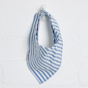 Blue Marl White Stripe Bib