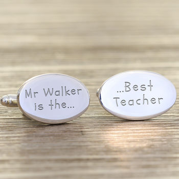 Personalised Thank You 'Best Teacher' Cufflinks
