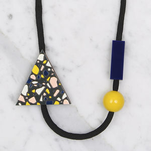 Wooden Terrazzo Pattern Triangle Necklace // Night